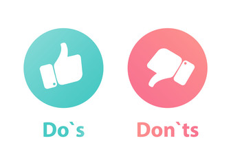 do`s and Don't or Like & Unlike. Icons with thumbs up and thumbs down icons