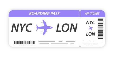 Airline boarding pass ticket. Ticket blank. Plane ticket template.