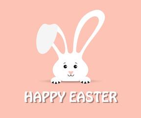 White easter rabbit. Happy Easter!