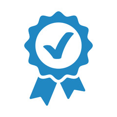 Approved, accept or certified icon medal with ribbons and check mark