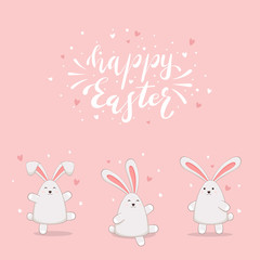 Rabbits on Pink Background and Lettering Happy Easter