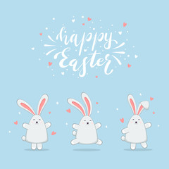 Rabbits with Hearts on Blue Background and Lettering Happy Easter