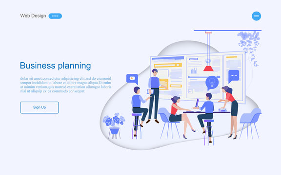 Business concept of web design for teamwork in collaborative planning data analysis and solutions include business services. Vector illustration.