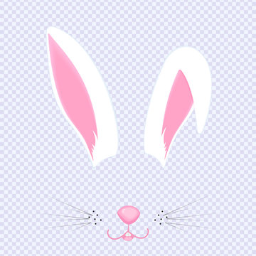 Easter Bunny ears and nose. Mask for carnival, selfie, photo, chat. The face of the animal. Rabbit filter. Vector