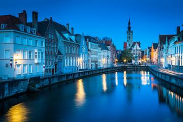Wall Murals Bridges Spiegelrei canal at night, Brugge, Flanders, Belgium