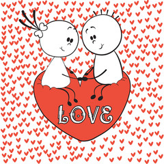 Doodle lovers: a boy and a girl holding hands, sitting on the love heart with red hearts around. Cartoon figure lovers, stick man. Love Invitation card. Illustration of love and valentine day.