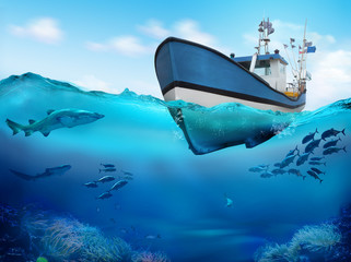 Fishing boat in the ocean. Underwater view of the coral reef. 3D illustration.