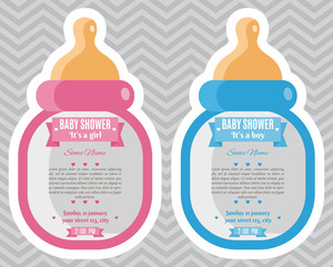 Baby Shower Invitation baby bottle. Set of baby shower invitation card. Frame with bottle and stickers. It's a boy. It's a girl. Happy mother and baby shower for newborn celebration.