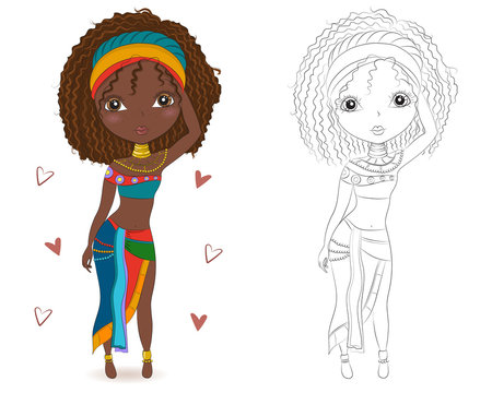 Set of hand drawn traditional African woman on white background.Fashionable girls.Cartoon character in traditional African dress.Coloring book pages for kids.Outline for coloring page cartoon vector