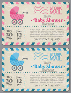 Set of baby shower invitation card. Baby frame with stroller and stickers on striped background. It's a boy. It's a girl.