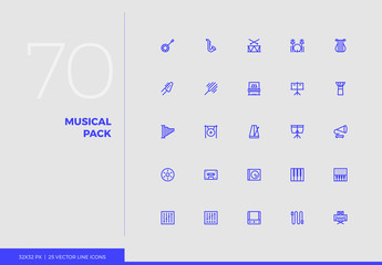 Vector Line Icons Musical Pack