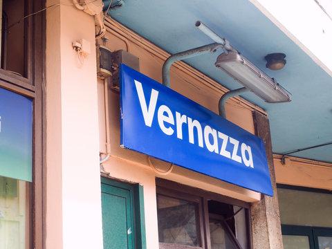 editorial train station sign Vernazza Cinque Terre Italy