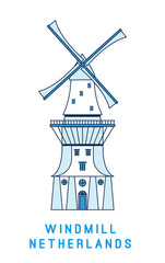 Line art windmill isolated on white background, Netherlands symbol, vector illustration in flat style.