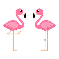 cartoon flamingo boy and girl vector