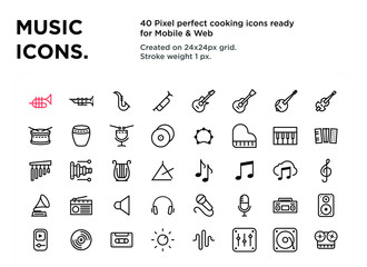 40 Music Icons, pixel perfect, created on 24x24px grid, ready for all mobile platforms, web and print, easy to change color or size - Vector