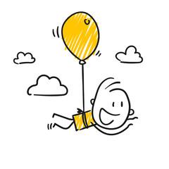 Strichfiguren / Strichmännchen: Spaß, Luftballon. (Nr. 348)