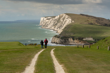Walkers on the Tennyson Trail, Freshwater Bay, Isle of Wight, England