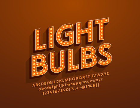 Vector Light Bulbs retro style Font. Electric vintage Alphabet Letters for Entertainment and Event Marketing