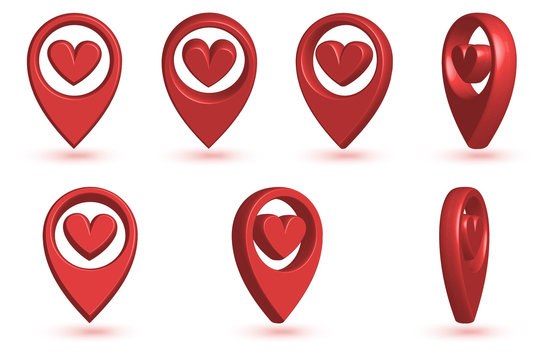 Map pointer with heart icon.