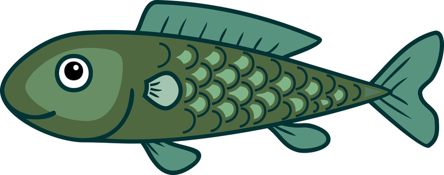Cute cartoon green fish