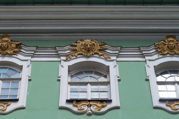 Close up detail of beautiful facade of winter Palace in Saint Petersburg, Russia