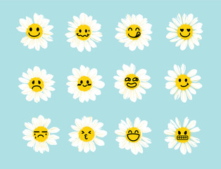 Set of White daisy or chamomile with cute and funny emoji face.Isolated. Vector illustration