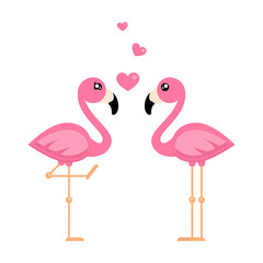 cartoon flamingo boy and girl with heart vector