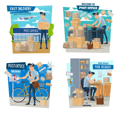 Postman or mailman, parcels delivery, post office