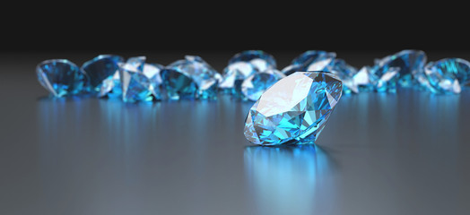 Blue diamonds Gem placed on reflection background 3d rendering.