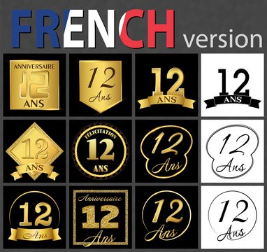 French set of number 12 templates