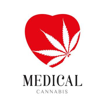 medicinal marijuana hemp logo, leaf flat icon and red heart. Vector illustration