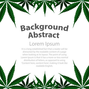 background cannabis leaf drug marijuana grass. Vector marijuana frame cannabis green leaf. Vector illustration