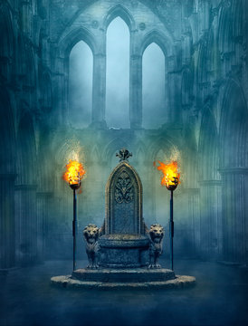 Fantasy medieval scene with a throne and tourches