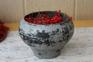 Cast iron - pot of cast iron with viburnum