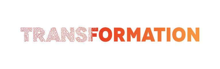 Transformation text typography red and orange colour, Technology and digital abstract dot connection vector logo. (sign, symbol, icon, design element). Technology design - Vector