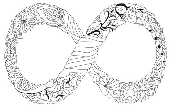 Vector illustration of an infinity symbol zentangle styled
