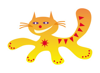 Running cat funny cartoon happy positive, drawing in red, orange and yellow colors. Vector graphics.