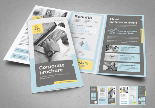 Trifold Brochure with Yellow Accents