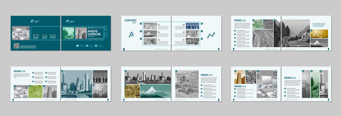 Brochure creative design. Multipurpose template with cover, back and inside pages. Trendy minimalist flat geometric design. Horizontal landscape a4 format.