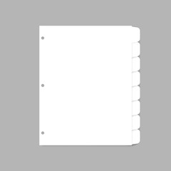 White plastic index dividers for three ring binder - letter size, realistic mockup. Blank filler paper sheets with cut tabs, vector template