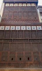 Mashrabiya facade at El Sehemy house, an old Ottoman era house in medieval Cairo, Egypt, originally built in 1648
