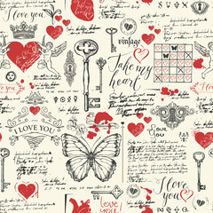 Vector seamless background on the theme of Declaration of love and Valentine day in retro style. Abstract background with red hearts, butterflies, keys, keyholes, cupids and handwritten inscriptions