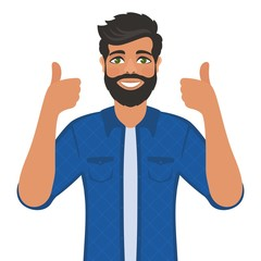 Happy smiling man shows thumbs up. Gesture, symbol or sign Like, cool, agree, approve. Bearded dark-haired guy with green eyes in a shirt. Cartoon positive character on white background. Vector image.