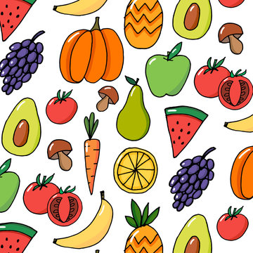 vegetables fruits hand drawn vector pattern colorful
