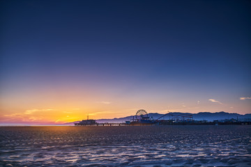 colorful sunset in santa monica california Wall mural