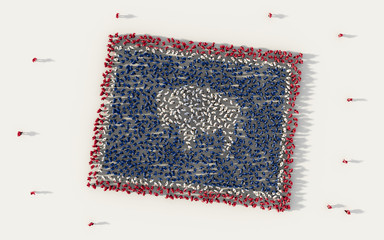 Large group of people forming Wyoming flag map in The United States of America, USA, in social media and community concept on white background. 3d sign symbol of crowd illustration from above