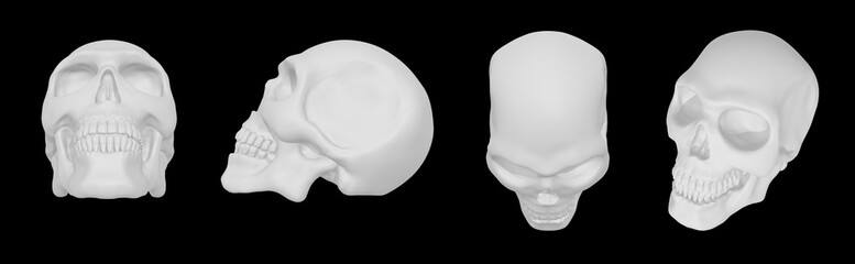 Realistic white 3d skull: front, side, top view isolated on black
