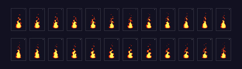 Fire animation sprites, torch, campfire, fire trap, fire pillar or something else . vector flame video frames for game design