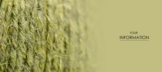Green wool thread macro texture material pattern blur background