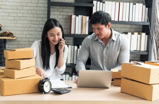 Entrepreneur young asian owner startup small business shop online. ecommerce concept.